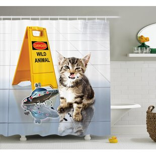 Animal Cute Flirty Adorable Kitten on The Floor With Ufo and Warning Sign Art Print Image Single Shower Curtain