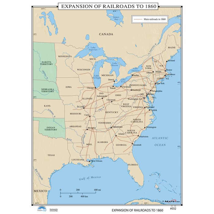 U.S. History Wall Maps - Expansion of Railroads to 1860