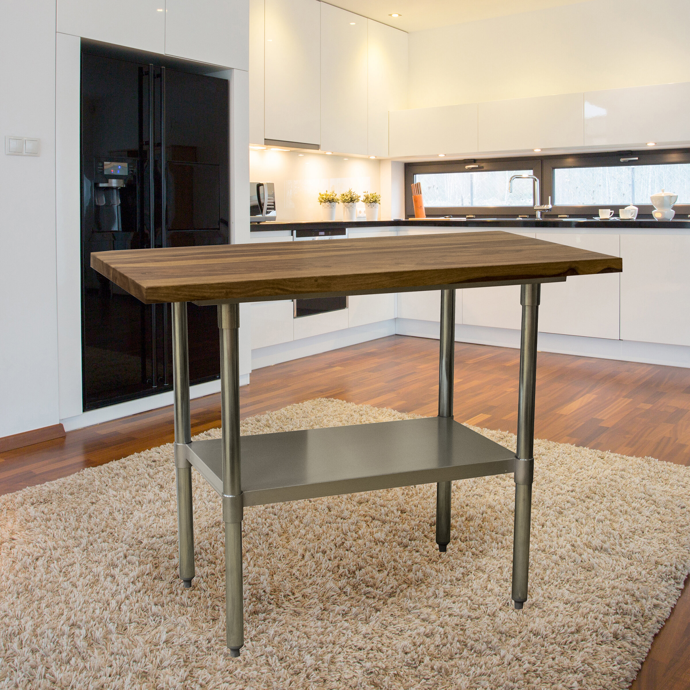 Robles 9.9'' Stainless Steel Prep Table with Solid Wood Top