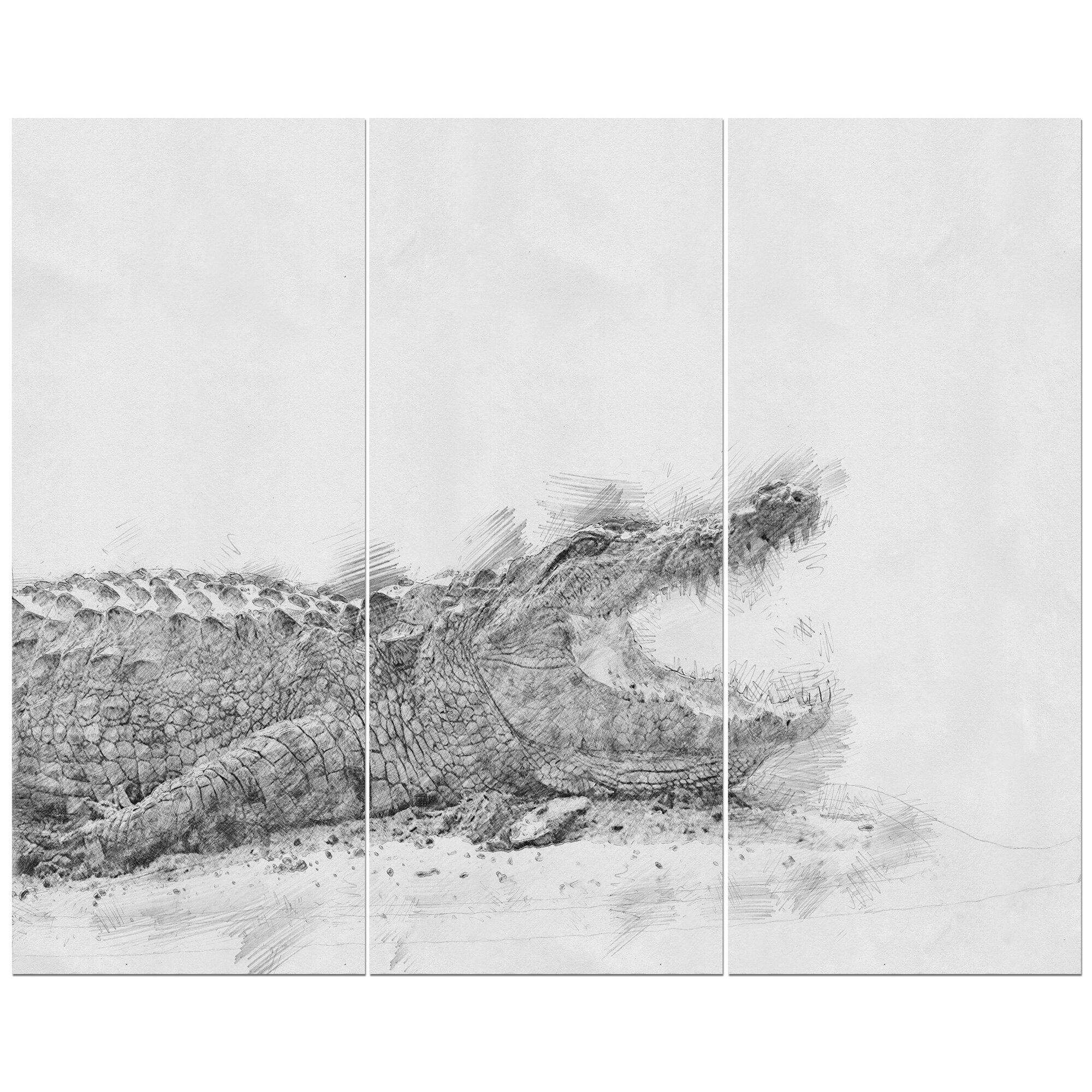 East urban home black and white crocodile pencil sketch oil painting print multi piece image on wrapped canvas wayfair ca
