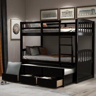 Eglantine Twin Over Twin Bunk Bed With Trundle and Drawers by Harriet Bee