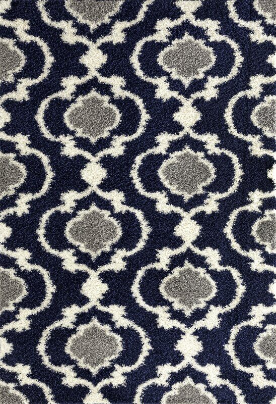 Strothers Cozy Shag Navy Area Rug