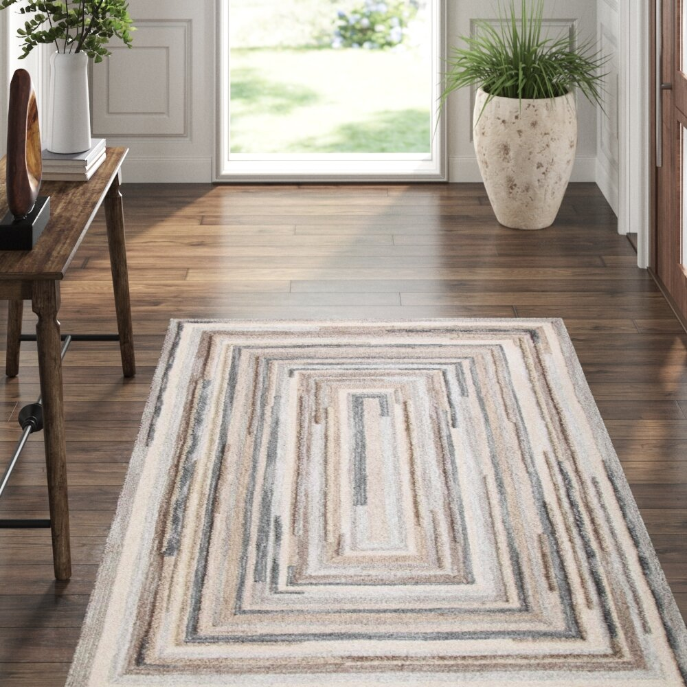Companyc Concentric Abstract Handmade Tufted Wool Gray Area Rug Reviews Perigold