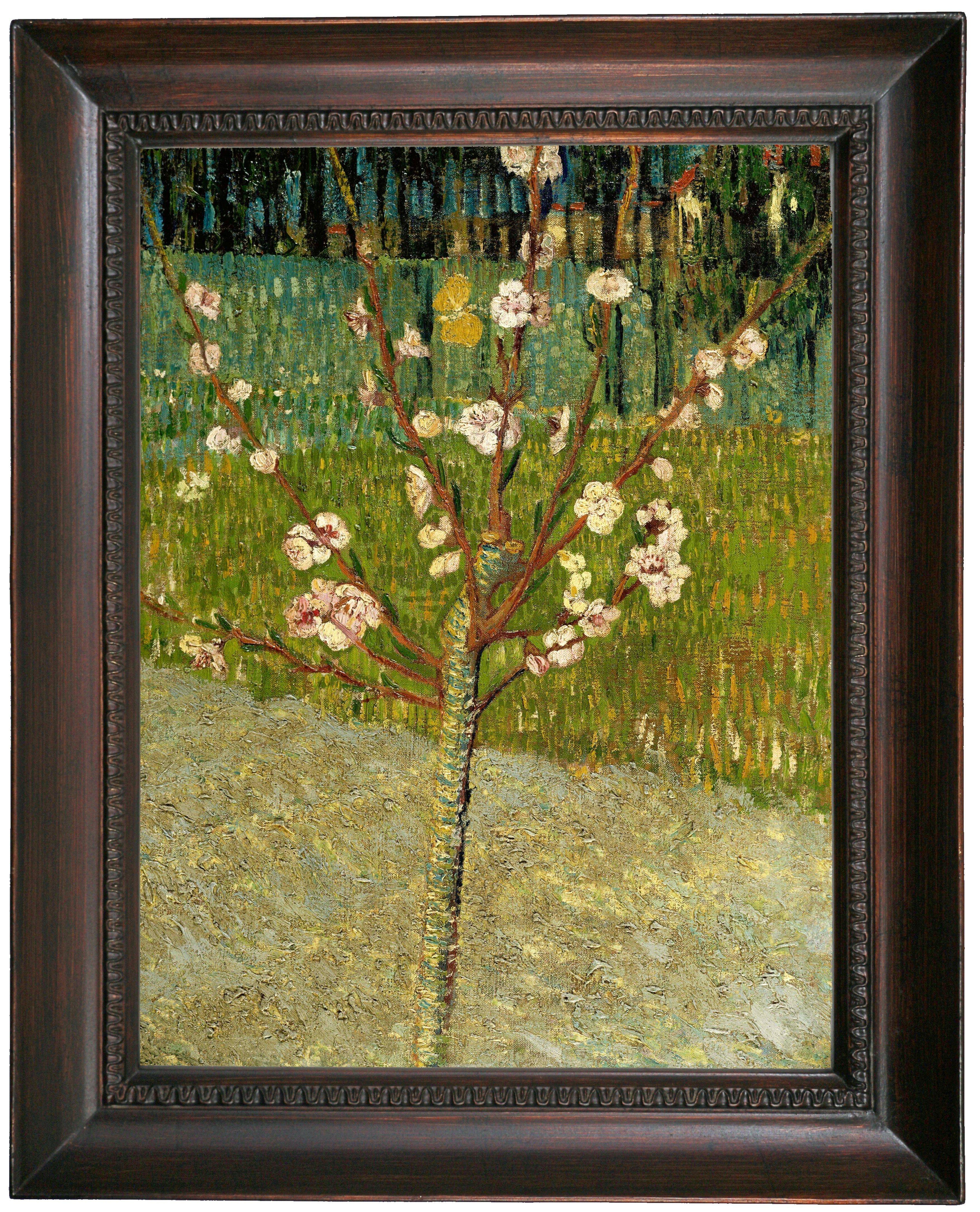 van Gogh Lane with Poplars Wood Framed Canvas Print Repro 8x10
