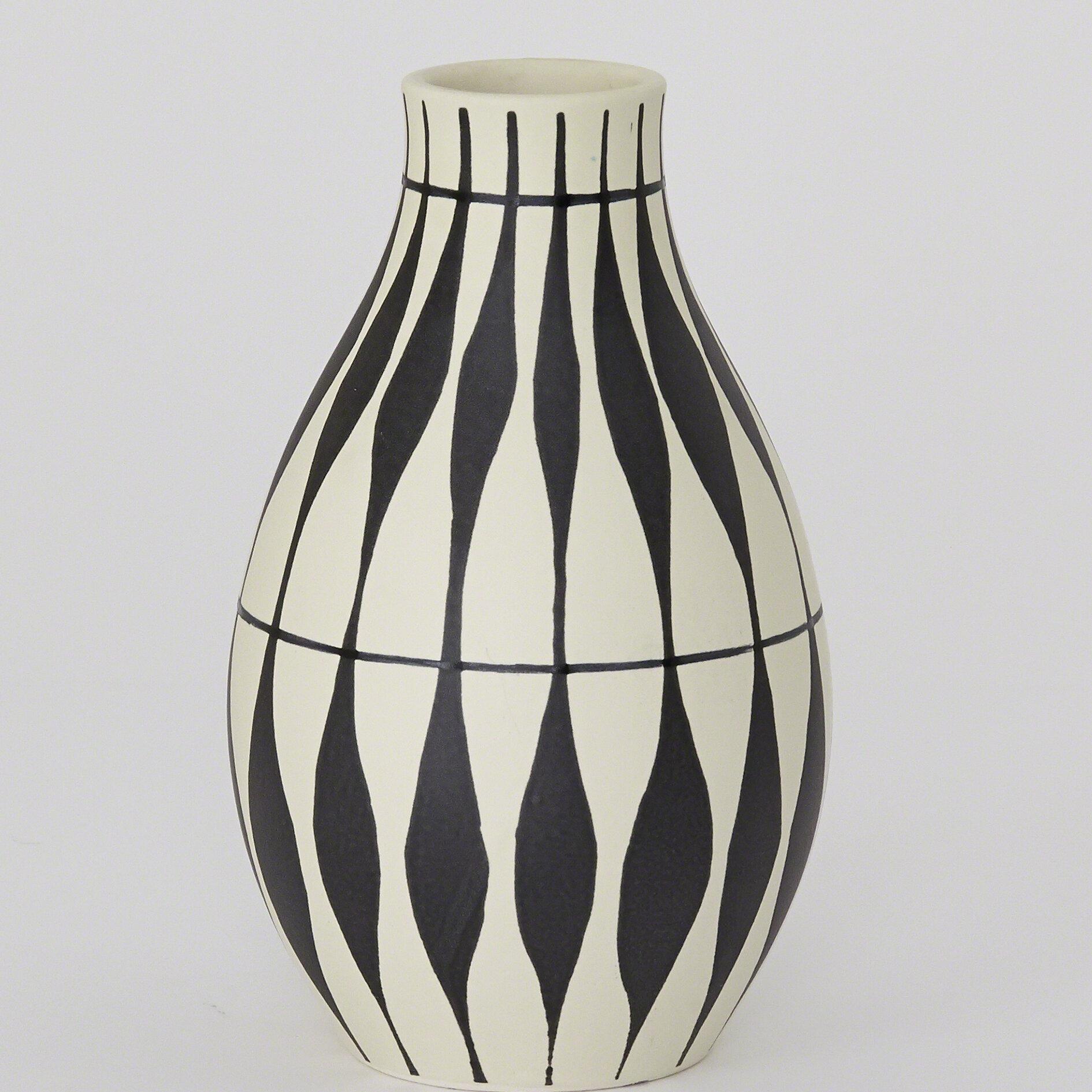 A Pair Vintage Sculptural Handle BlackWhite Ceramic Mid Century Vases