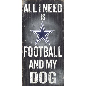 NFL Football And My Dog Textual Art Plaque