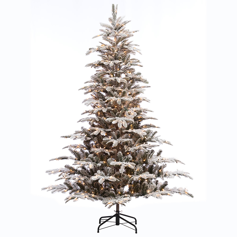 The Holiday Aisle Pre-lit Aspen Flocked 7.5\' White/Green Fir Trees ...