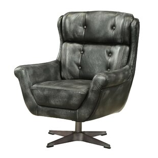 Mendez Top Grain Leather Swivel Armchair by 17 Stories
