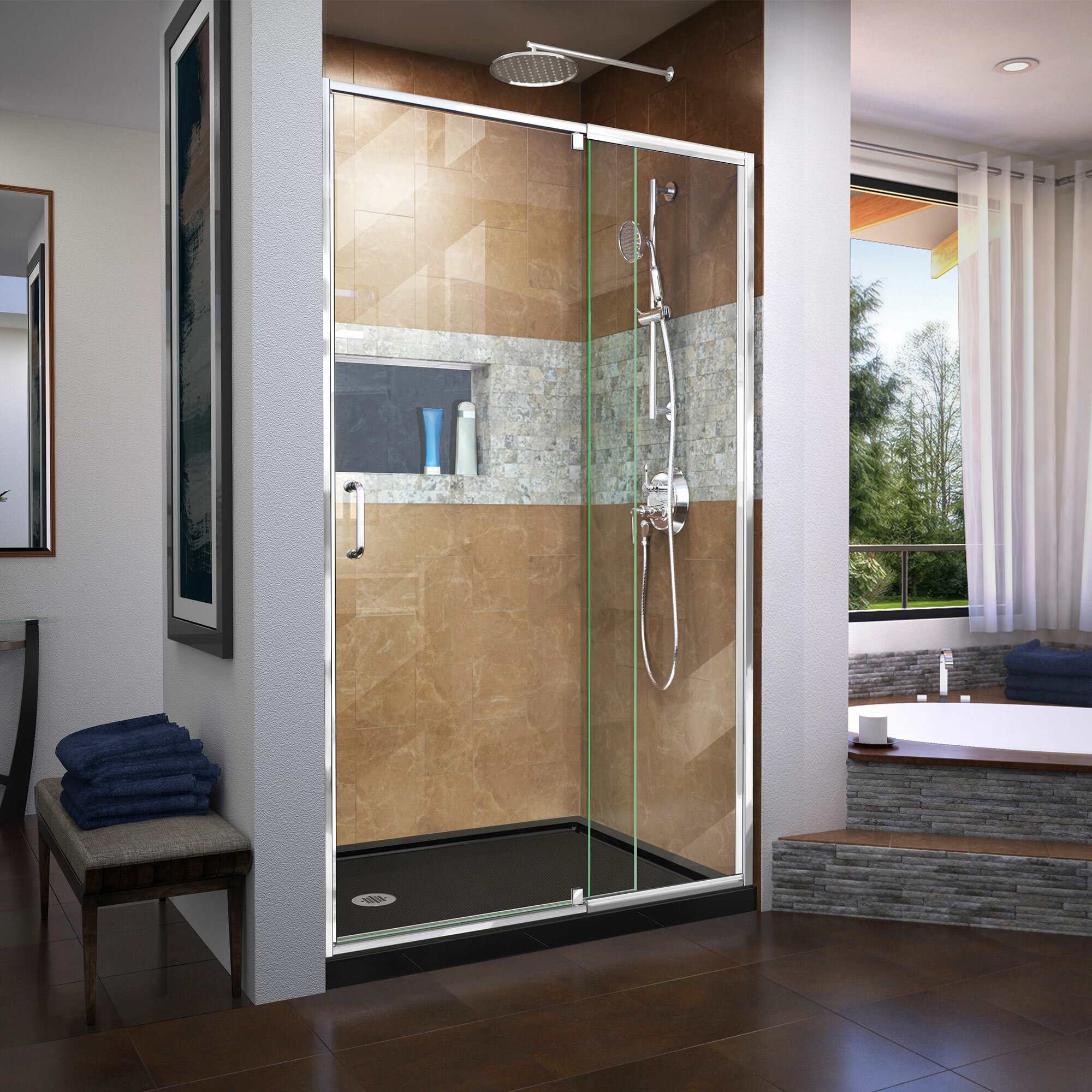 Dreamline Flex 44 48 In W X 72 In H Semi Frameless Pivot Shower