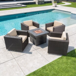 Furst 5 Piece Rattan Seating Group with Cushions by Wade Logan