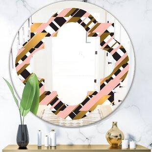 Checkered Pattern II Quatrefoil Modern  Contemporary Frameless Wall Mirror by East Urban Home