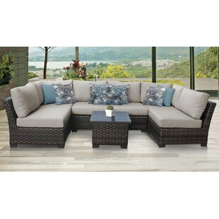 River Brook 7 Piece Outdoor Wicker Patio Furniture Set 07c By Kathy Ireland Homes & Gardens By TK Classics