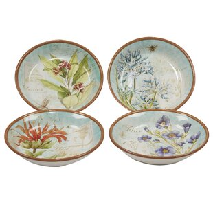 Fulcher 4 Piece Herb Blossoms Pasta Bowl Set