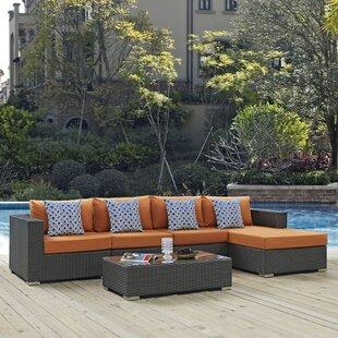 Brayden Studio Tripp 5 Piece Rattan Sunbrella Sectional Set with Cushions