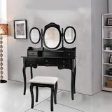Rosenbloom Vanity Set with Stool and Mirror by Alcott Hill®