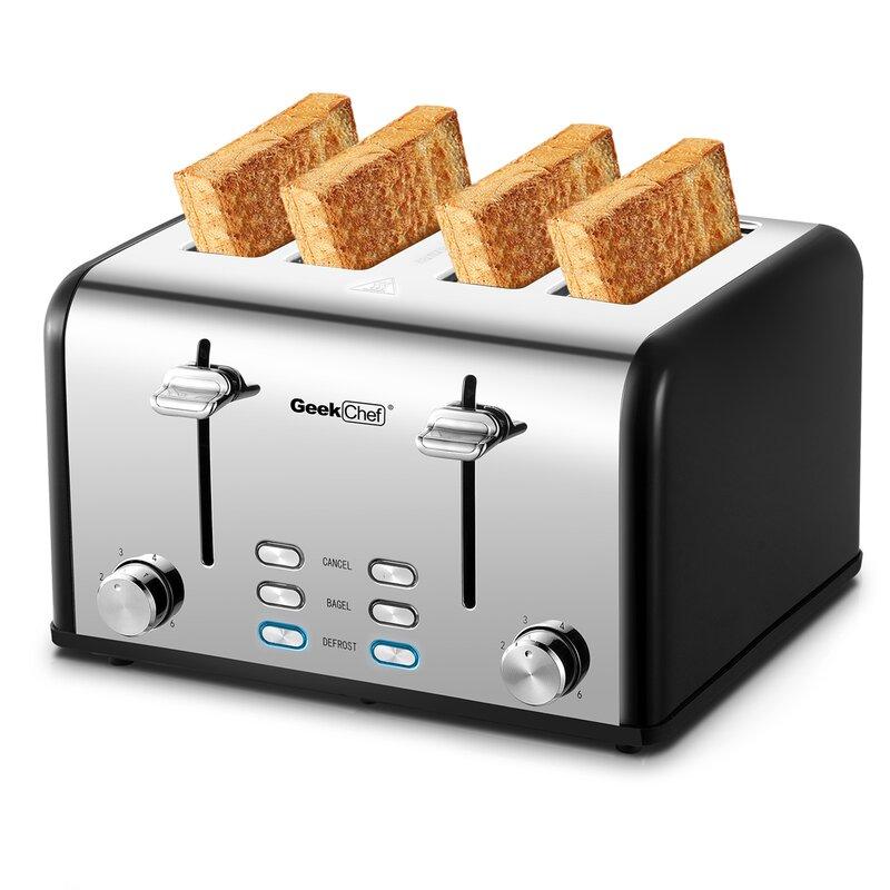 Setemi 4 Slice Stainless Steel Extra Wide Slot Toaster Wayfair