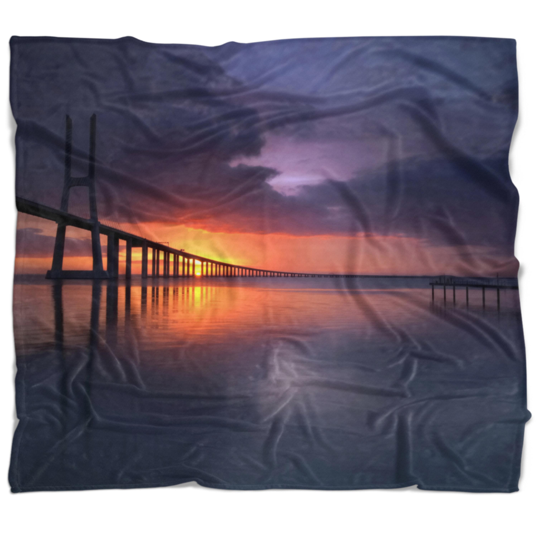 East Urban Home Pier Seascape Vasco Da Gama Bridge Portugal Blanket Wayfair