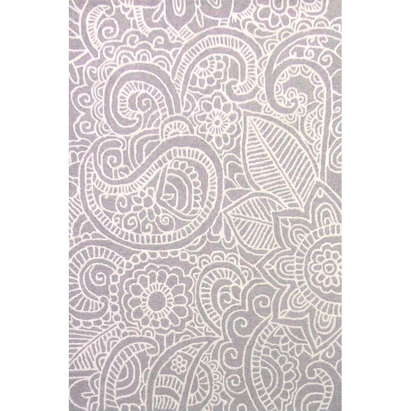 Alcott Hill Glenford Hand-Hooked Wool Purple Area Rug, Size: Rectangle 8 x 10