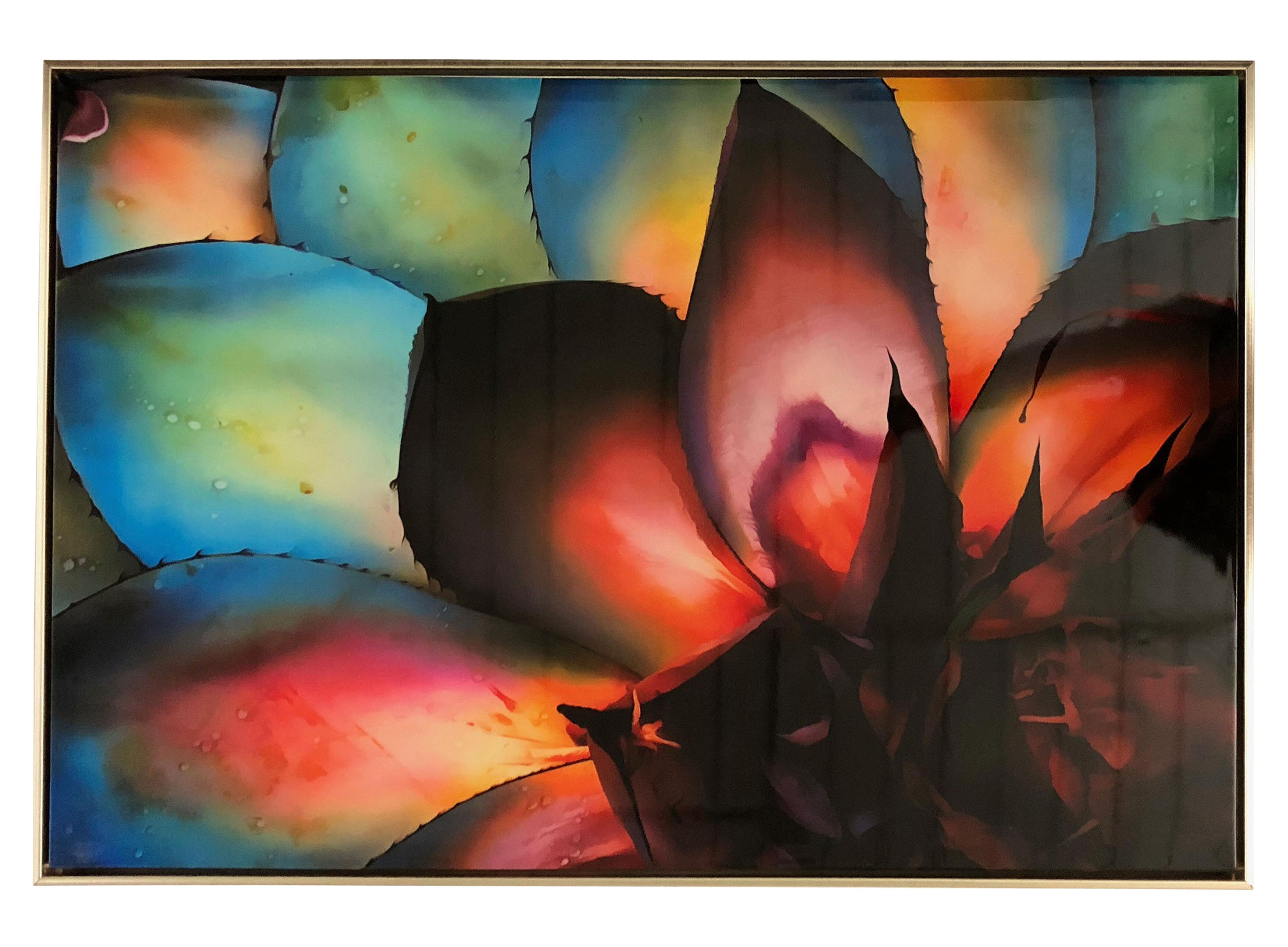 bungalow rose rainbow succulent high gloss framed graphic art