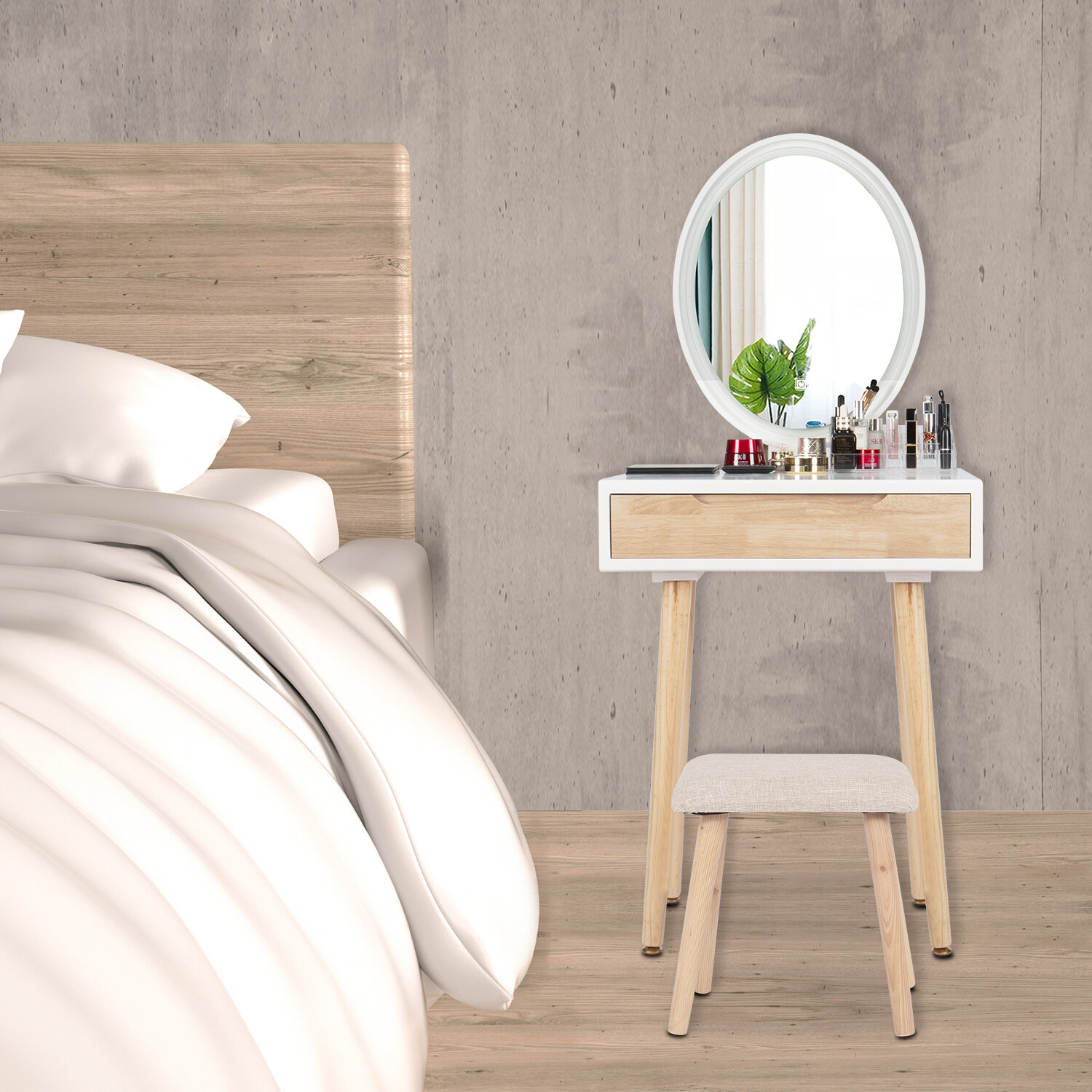 Corrigan Studio Currey Solid Wood Makeup Vanity Set With Stool And Mirror Wayfair