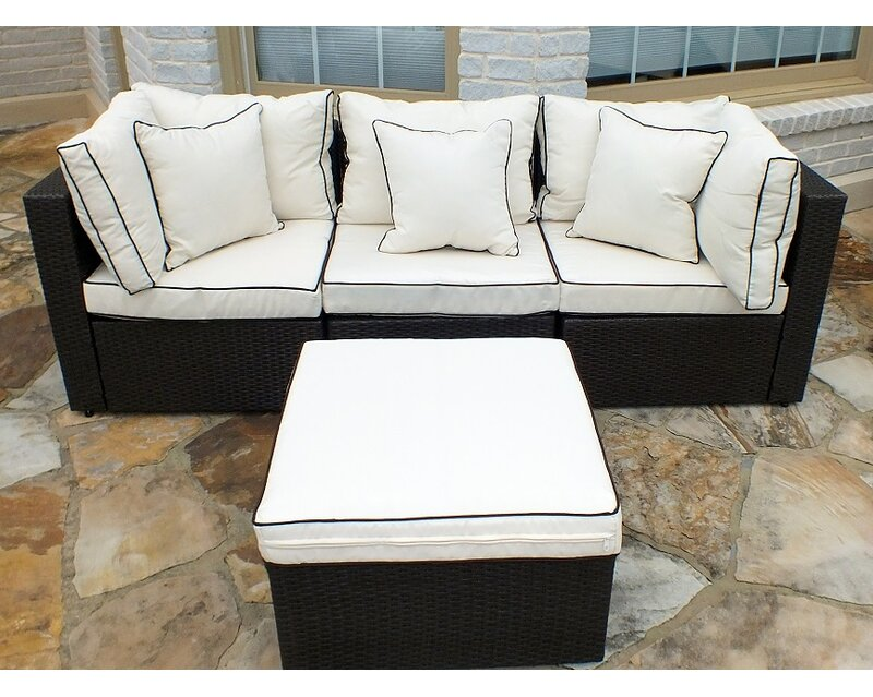 Burruss 4 Piece Patio Sectional With Cushions