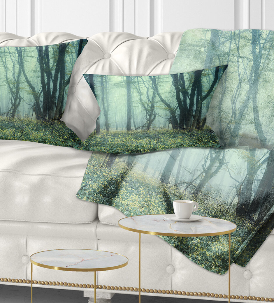East Urban Home Landscape Trail Through Foggy Forest Lumbar Pillow Wayfair