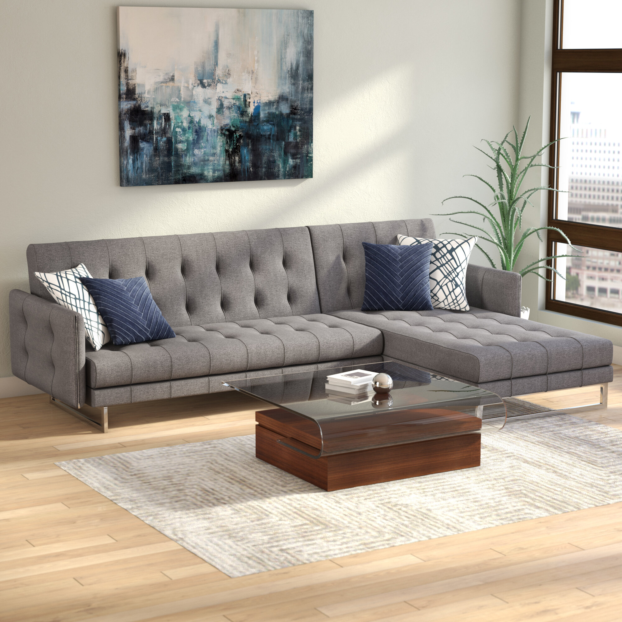 Modern Contemporary Low Back Sectional Sofa Allmodern
