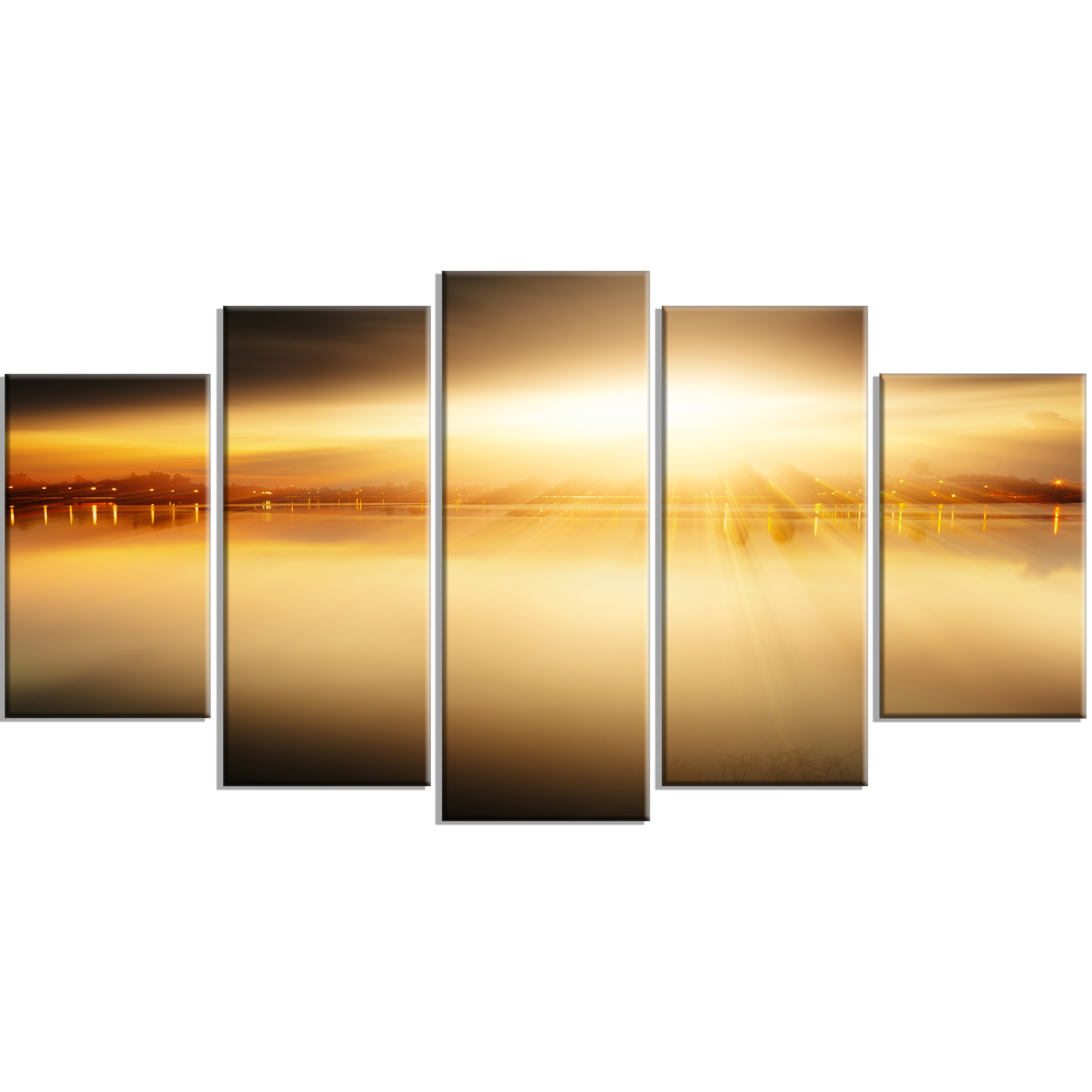 DesignArt \'Sunset with Views on the Lake\' 5 Piece Wall Art on ...