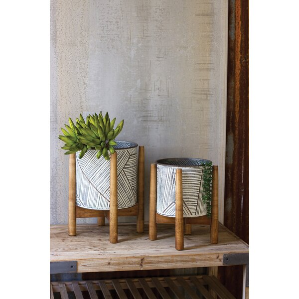 pressed metal furniture. Union Rustic Maner 2-Piece Pressed Tin With Wooden Base Metal Pot Planter Set | Wayfair Furniture O