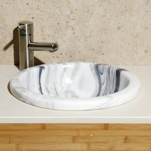 Best Deals New Zebra Stone Circular Drop-In Bathroom Sink By Allstone Group