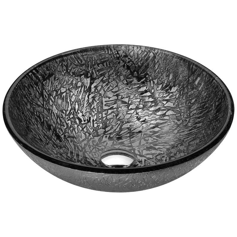 Anzzi Arc Gray Glass Circular Vessel Bathroom Sink Perigold