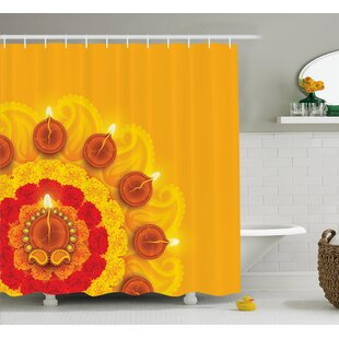 Donaldson Diwali Paisley Design With Flowers Diwali Religious Festive Burning Candles Print Single Shower Curtain