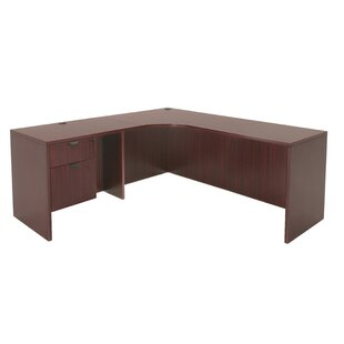 Linh Single Pedestal Left Corner Credenza L-Shape Executive Desk by Latitude Run Today Only Sale