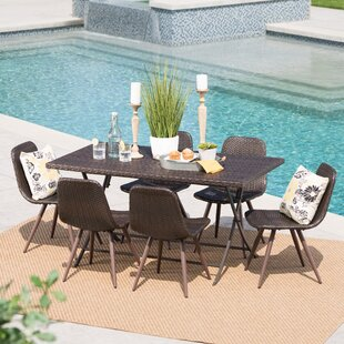 Garon Outdoor Wicker 7 Piece Dining Set b..