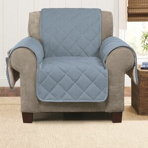 Denim Sherpa Box Cushion Armchair Slipcover ..