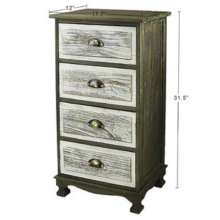 Llanes Storage Paulownia Wood 4 Drawer Nightstand
