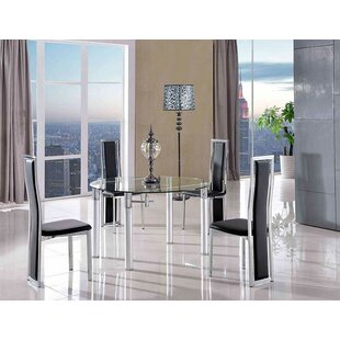Bernstein Steel Clear Glass Dining Set With 6 Chairs By Metro Lane