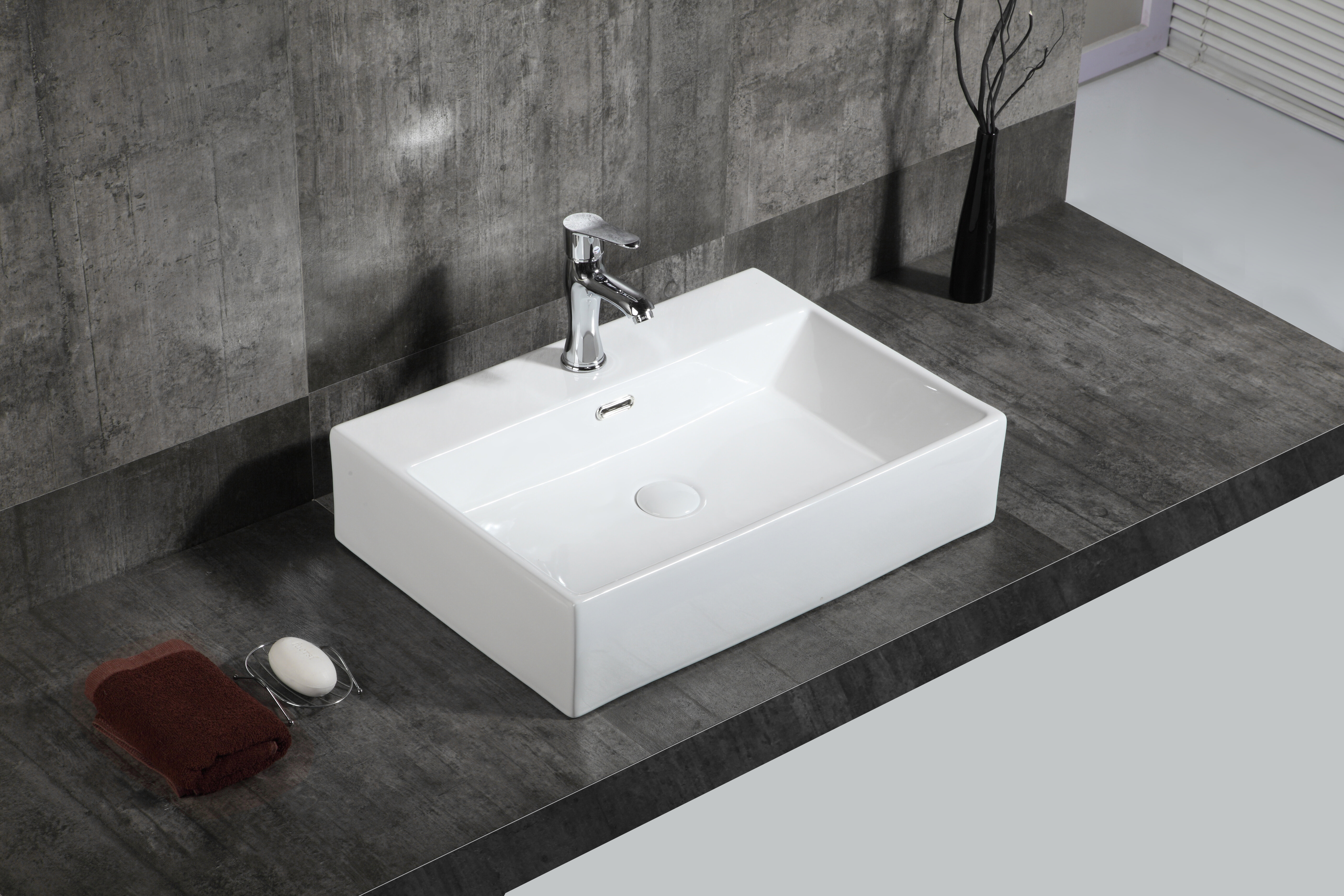 A E Bath And Shower Bow Ceramic Rectangular Vessel Bathroom Sink With Overflow Wayfair