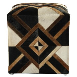Riley Diamond Leather Pouf Ottoman by Bloomsbury Market