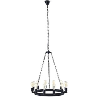 Affordable Teleport 12-Light Wagon Wheel Chandelier By Modway