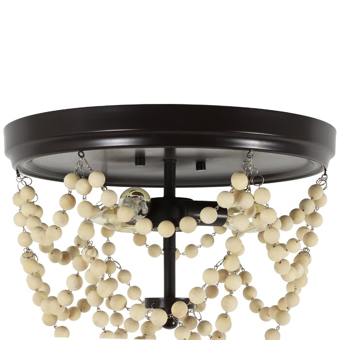 Adan Metal And Wood Bead 3 Light Flush Mount