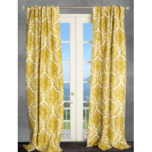 Damask Semi-Sheer Thermal Rod pocket Single Curtain Panel