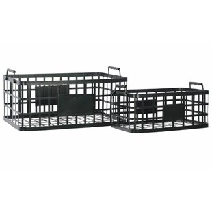 Robust Metal 2 Piece Basket Set with Labels by 17 Stories