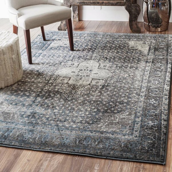 mistana pascoe blue/grey & silver area rug & reviews | wayfair.ca
