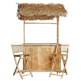 Bay Isle Home Porter Bamboo 3 Piece Tiki Bar Set with Palapa Roof