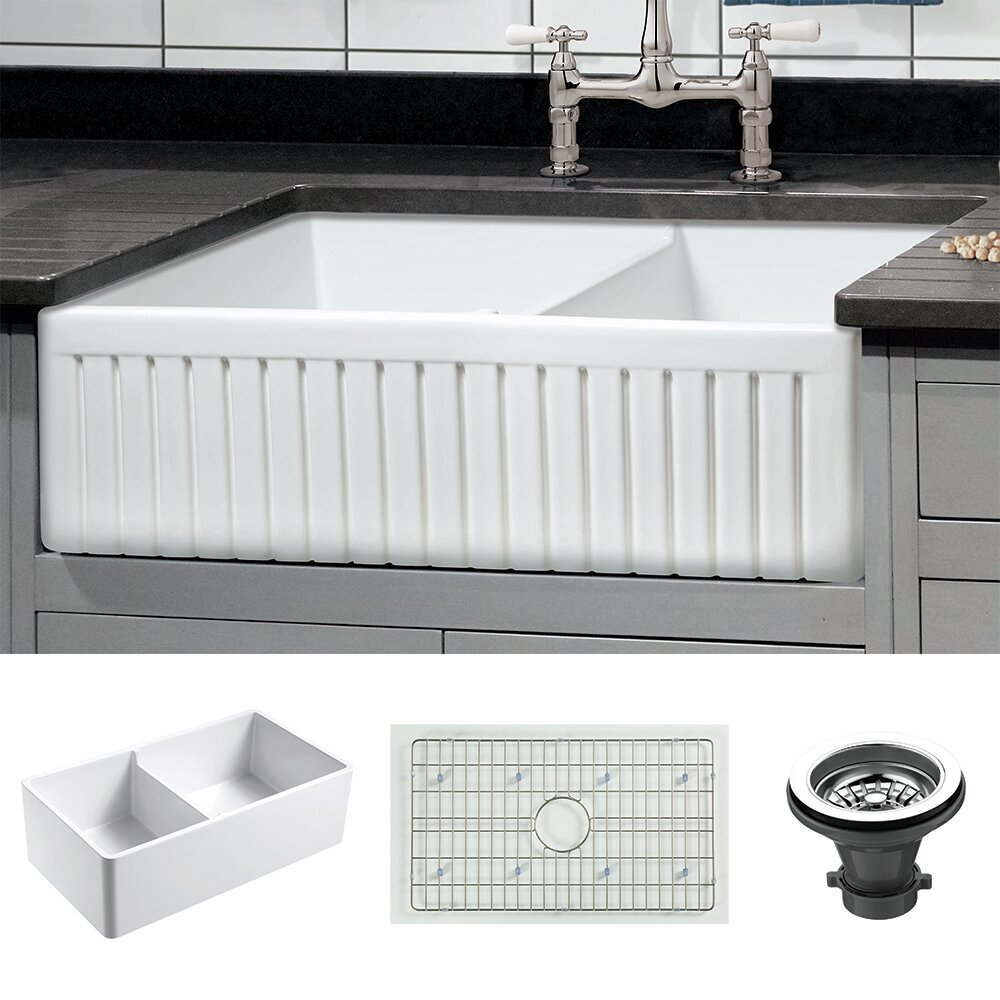 Dorn 33 L X 18 W Double Basin Farmhouse Kitchen Sink With Grid And Strainer Reviews Birch Lane