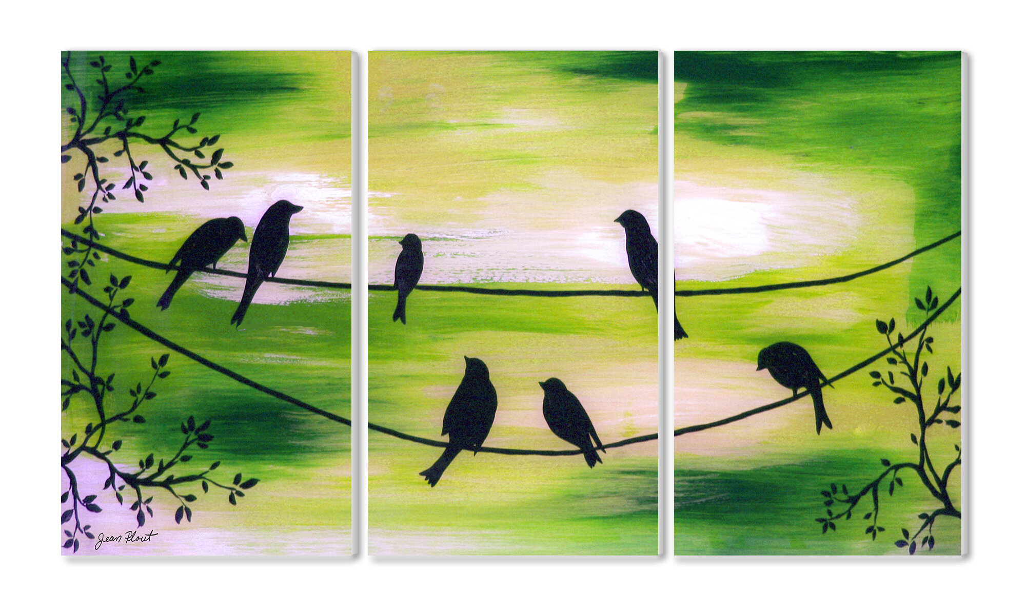 Stupell Industries Birds on a Wire Triptych 3 Piece Painting Print ...