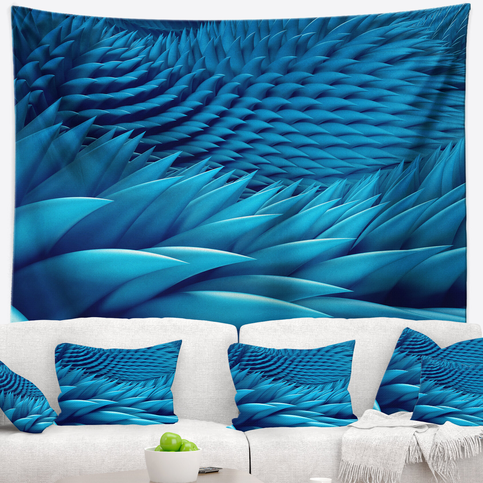 Abstract Abstract Blue Wavy Background Tapestry