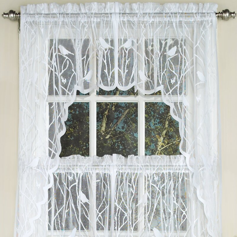 Sweet Home Collection Knit Lace Song Bird Motif Kitchen Curtains