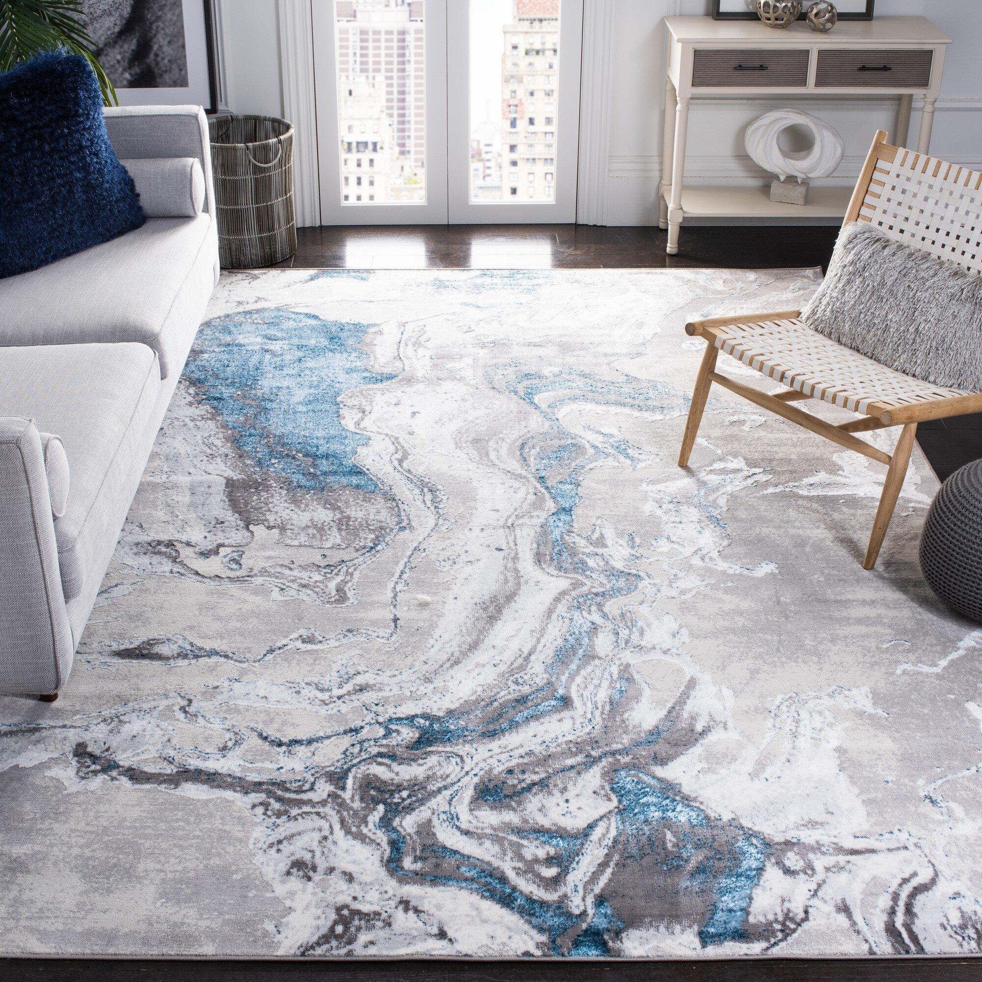 Wrought Studio Mieka Abstract Gray Area Rug Wayfair